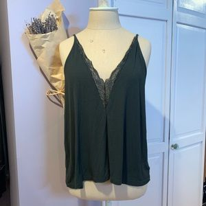 Dark Green Lace V-Neck Tank